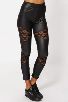 WET LOOK LEGGINGS WITH LACE INSERTS