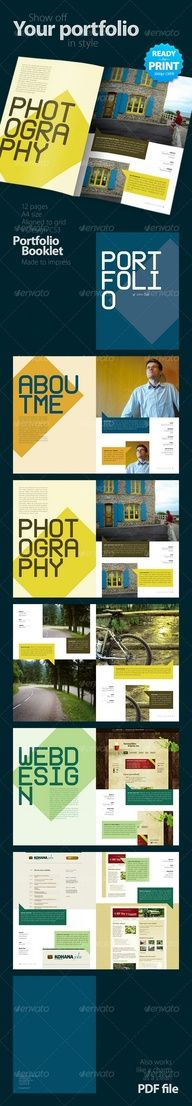 Buy Portfolio Booklet pages) by GeertDD on GraphicRiver. After the success of the Resume Booklet, you can now present your portfolio in style as well. This very clean and cre. Portfolio Booklet, Printed Portfolio, Portfolio Resume, Portfolio Design, Template Brochure, Design Brochure, Brochure Layout, Brochure Sample, Booklet Template