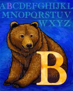 B Bear Alphabet Print 8x10 Signed by toadbriar on Etsy