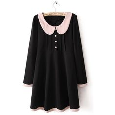 Black Lapel Long Sleeve Contrast Trims Buttons Dress ($31) ❤ liked on Polyvore