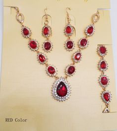 Green Red Blue Rhinestone Jewelry Sets  Wedding Drop Crystal Glass Necklace  Fashion Bridal Bracelet Earrings Party Accessories♦️ SMS - F A S H I O N 💢👉🏿 http://www.sms.hr/products/green-red-blue-rhinestone-jewelry-sets-wedding-drop-crystal-glass-necklace-fashion-bridal-bracelet-earrings-party-accessories/ US $3.95