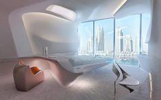 SF映画の金字塔として知られる「2001年宇宙の旅」を彷彿とさせる、キューブリックの映像美をそのまま具現化したような部屋の写真。 こちらは以前このサイトでもご紹介した、女性建築家ザハ・ハディドが手掛けるドバイで建設中の新ビルディング「THE OPUS」内にオープンが予定されているホテルのインテリア予想図。 ホ