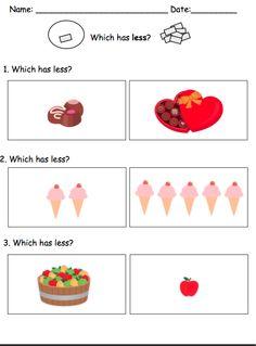 More/Less Worksheets {visual math tasks} by theautismhelper.com