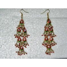 Gift Idea- Red Green Silver Finish Dangling Earrings Set India Fashion Jewelry mogul interior, http://www.amazon.com/gp/product/B00856XPRQ/ref=cm_sw_r_pi_alp_cM-vqb0TEE1EC