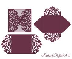 Four-fold envelope laser cut template SVG, DXF, CDR Cricut, Silhouette Cameo, Brother Scan n Cut от NarisariDigitalArt