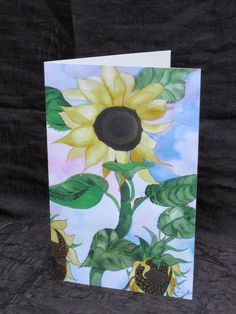 sunflowers and ladybug  greeting card birthday card by PiskyArt