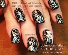 black and silver with gothic girl nail art  http://www.youtube.com/watch?v=vI6NKa26yhw