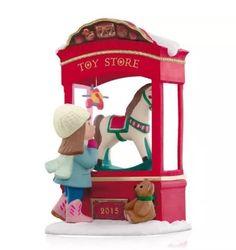 "2015 Hallmark ""Toy Store Dreams"" Magic Ornament - Rocking Horse - Teddy Bear #Hallmark #MagicOrnament"