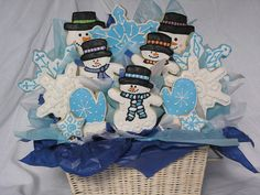Winter wonderland cookie bouquet by East Coast Cookies, via Flickr