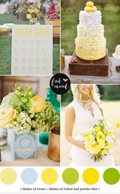 blue green yellow read more http://www.fabmood.com/blue-green-yellow-wedding-palette/  Spring Wedding see Blue Green Yellow Wedding Colours Palette,powder blue green yellow wedding palette, yellow green wedding theme ideas,yellow blue bouquets