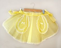 50s Half Apron / Yellow Apron / Sheer Apron / Vintage Accessories.