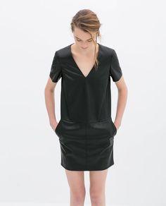 Faux Leather V-Neck Dress by Zara