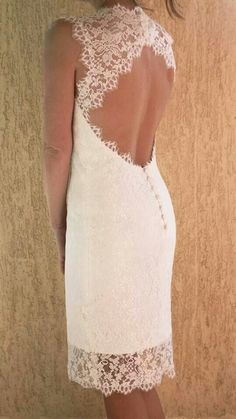 Short lacy wedding dress