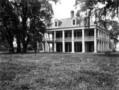 """vintagenola: """"Three Oaks Plantation - 1948 Photo by Alexander Allison """" Greek Revival Architecture, Southern Architecture, Types Of Architecture, Abandoned Plantations, Louisiana Plantations, Southern Plantation Homes, Southern Mansions, New Orleans History, Three Oaks"""