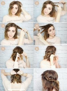 Messy Braided Crown for Short Hair