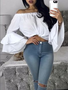 Sexy Off Shoulder Chiffon Blouse Women Femme Ruffle Blouse Shirts Flare Sleeve Summer Tops Elegant Solid Pink Women Blusas Patchwork Material, Vetement Fashion, Flare, Bell Sleeve Blouse, Shirt Blouses, Blouses 2017, Blouses For Women, Ladies Blouses, Tees