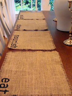 burlap and sharpie! so homey! I could make one for each member of the family. Keep some on hand for guests and let them take it home with them when they leave!