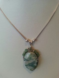 Apple Jade and Emerald sterling silver Necklace