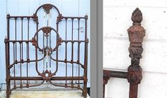 1800's antique iron bed w/ Statue of Liberty Torch corner castings