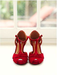 Red velvet peep-toe t-strap heels from Urban Outfitters.  Image by Sarah Rhoads Photography.