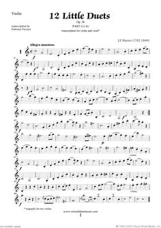 Little Duets Op.38, 12 - part I sheet music for violin and viola by Mazas