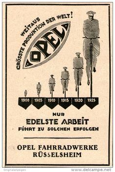 Original-Werbung/Inserat/ Anzeige 1925 - OPEL FAHRRÄDER - ca. 90 X 130 mm