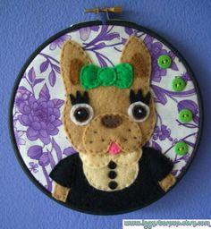 Cute French Bulldog Embroidery Hoop by IggyStarpup on Etsy, $25.00