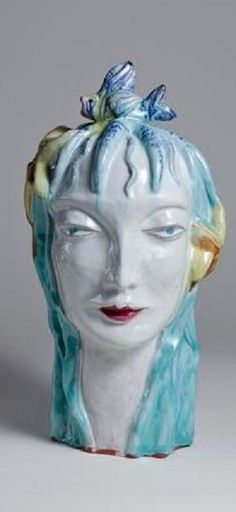 Dina Kuhn Das Wasser . Dina Kuhn is known as one of the leading female ceramicists of early 20th century Vienna along with Vally Wieselthier, Hilde Jesser, Susi Singer, and Erna Kopriva. Trained by Josef Hoffmann and Michael Powolny at the Kunstgewerbeschule in Vienna, she designed ceramics for the Wiener Werkstätte until the mid-1920s, when the Bimini Workshops opened a ceramic studio and installed Kuhn as its head. Ceramic Studio, Vienna, 1920s, Glass Art, Workshop, Designers, Singer, Vase, Ceramics