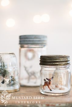 """This is definitely one of those not-new-at-all ideas, but they are so cute that I thought I would make a few mason jar """"snow globes""""."""