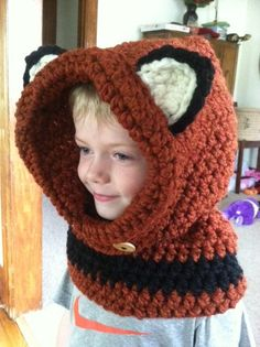 Fox Cowl, woodland animal, toddler cowl, infant cowl, winter cowl, Halloween, halloween costume, halloween hat