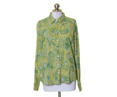 Harold's Green Teal Paisley Crinkled Cotton Button Down Shirt Size XL #Harolds #ButtonDownShirt #Casual