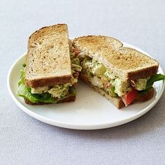 """Pesto Chicken Salad Sandwiches ~Looks like a good lunch!~ """"These upscale chicken salad sandwiches are a breeze to make since they use prepared pesto and leftover or rotisserie chicken breasts. Pesto Chicken Salad Sandwich Recipe, Best Chicken Salad Recipe, Pesto Chicken Salads, Sandwich Recipes, Chicken Sandwich, Pesto Salad, Pesto Recipe, Paninis, Healthy Sandwiches"""