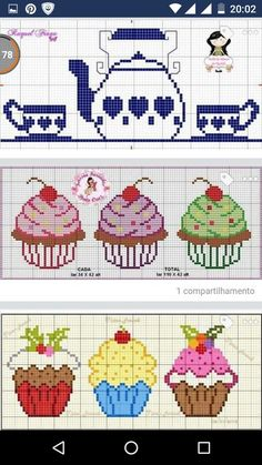 This post was discovered by Filiz Coşkun. Discover (and save!) your own Posts on Unirazi. Cross Stitching, Cross Stitch Embroidery, Embroidery Patterns, Hand Embroidery, Cupcake Cross Stitch, Cactus Cross Stitch, Cross Stitch Designs, Cross Stitch Patterns, Stitch Cartoon