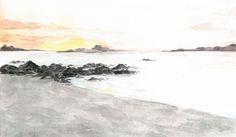 Paisaje de un atardecer en la playa hecho en acuarela por bauseee
