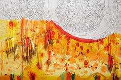Work in Progress. April 2016. Life Burst 2016 Designed by John Olsen AO OBE and woven by Pamela Joyce, Sue Batten, Chris Cochius, Jennifer Sharpe & Cheryl Thornton. Wool, cotton, 1.09 x 5.5 m Commissioned for the Peter MacCallum Cancer Centre Work commenced: Feb 2016  #LifeBurst #bobbins #weaving #tapestry #ATW #Olsen #wool #yarn #colour
