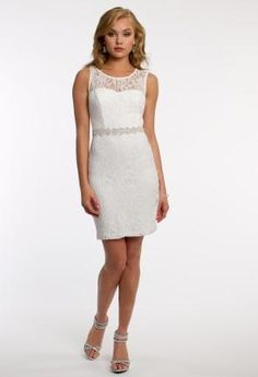 Glitter Lace Sheath Dress with Beaded Band   Camillelavie.com