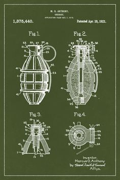 Keep Calm Collection - Hand Grenade Invention Patent Art Poster Print (http://www.keepcalmcollection.com/hand-grenade-invention-patent-art-poster-print/)