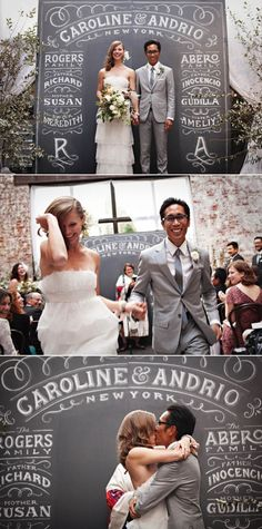 New York Wedding at The Foundry | Style Me Pretty  LOVE THE BLACKBOARD BACKDROP