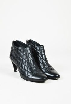 Chanel Black Quilted Leather Cap Toe Ankle Booties – Luxury Garage Sale