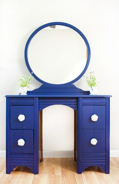 Check out this Blue Vanity Makeover using DecoArt's Satin Enamel paint that has a beautiful finish and doesn't even require a top coat! #decoartprojects
