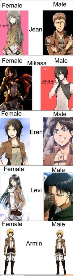 I assuming that Levi is a male version of Mikasa and Chirsta is a female version of Armin. Armin, Mikasa, Levi X Eren, Anime Meme, Manga Anime, Film Manga, Haikyuu, Aot Funny, Funny Comics