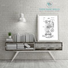 Bicycle Patent Print | Patent Prints | Bicycle Prints | Bike Prints | Bicycle Decor | Bike Decor