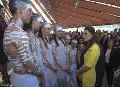 The Duchess met aboriginal dancers at the reception while attending the event at the Opera House 4/16/2014