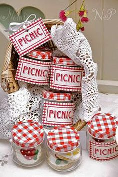 red gingham picnic party celebrates spring perfect for baby shower or birthday party individual red gingham jars with labels