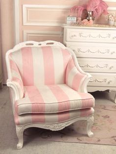 Shabby Sweet Pink and White Striped Chair Striped Chair, Pink Furniture, Shabby Chic Furniture, Bedroom Furniture, Shabby Chic Garden, Nail Designer, Pink And White Stripes, Pink Houses, Little Girl Rooms
