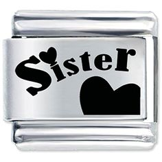 Heart Love Sister Laser Italian Charm For Link Bracelets >>> Check out this great product.