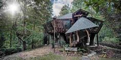 Fairytale Treehouse  Deep in the woods of Mississippi sits a crooked, kooky treehouse that you'd expect to be the setting of a Brothers Grimm story. There's even not one — but two! – hidden fairy doors.