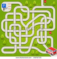 Vector Maze Game with Red Car and Complicated Way to the Parking. Tangled Road in the Forest - stock vector