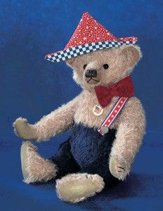 "Adam the Bear with ""My Flag"" Vintage Button, by Limerick Bears. http://florenceandgeorge.com"