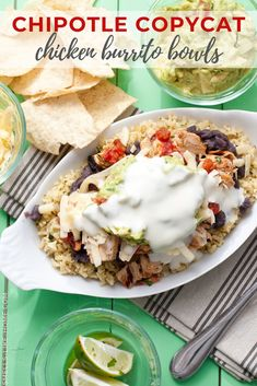 Copycat Chipotle Burrito Bowls: Who needs a Chipotle run when you can make your own chicken burrito bowls at home? Add all of your favorite toppings and stop paying extra for guac! Chipotle Chicken Bowl, Chipotle Burrito Bowl, Chicken Burrito Bowl, Chicken Burritos, Burrito Bowls, Chipotle Chicken Copycat, Grilled Chicken Fajitas, Marinated Chicken, Chipotle Copycat Recipes